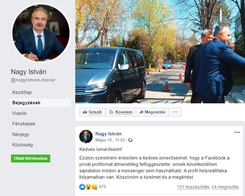 A Facebook letiltotta Nagy István Agrárminszter privát profilját -Euroastra.hu